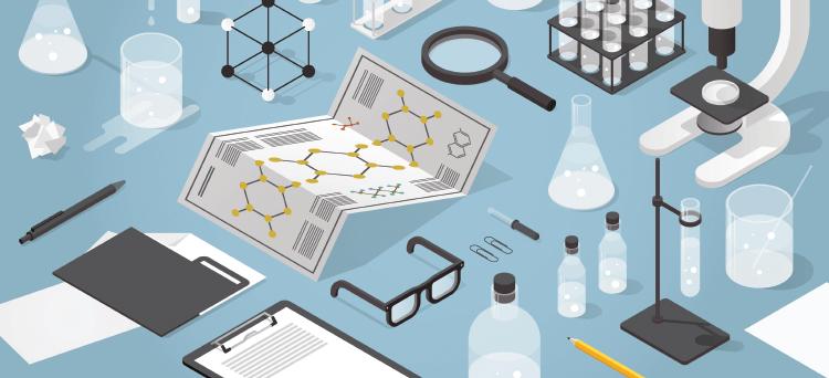 Infographie représentant divers objets de chimie